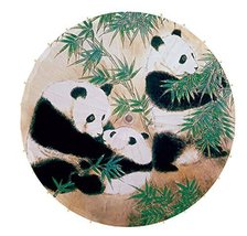 [Family] Rainproof Handmade Chinese Panda Oil Paper Umbrella 33 inches