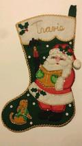 "Vintage Felt Christmas Stocking ""Travis"" Santa Finished Completed Glass ... - $58.04"
