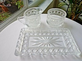 Vintage Top Quality Clear Crystal Cream & Sugar & Tray  c 1940's - $14.85