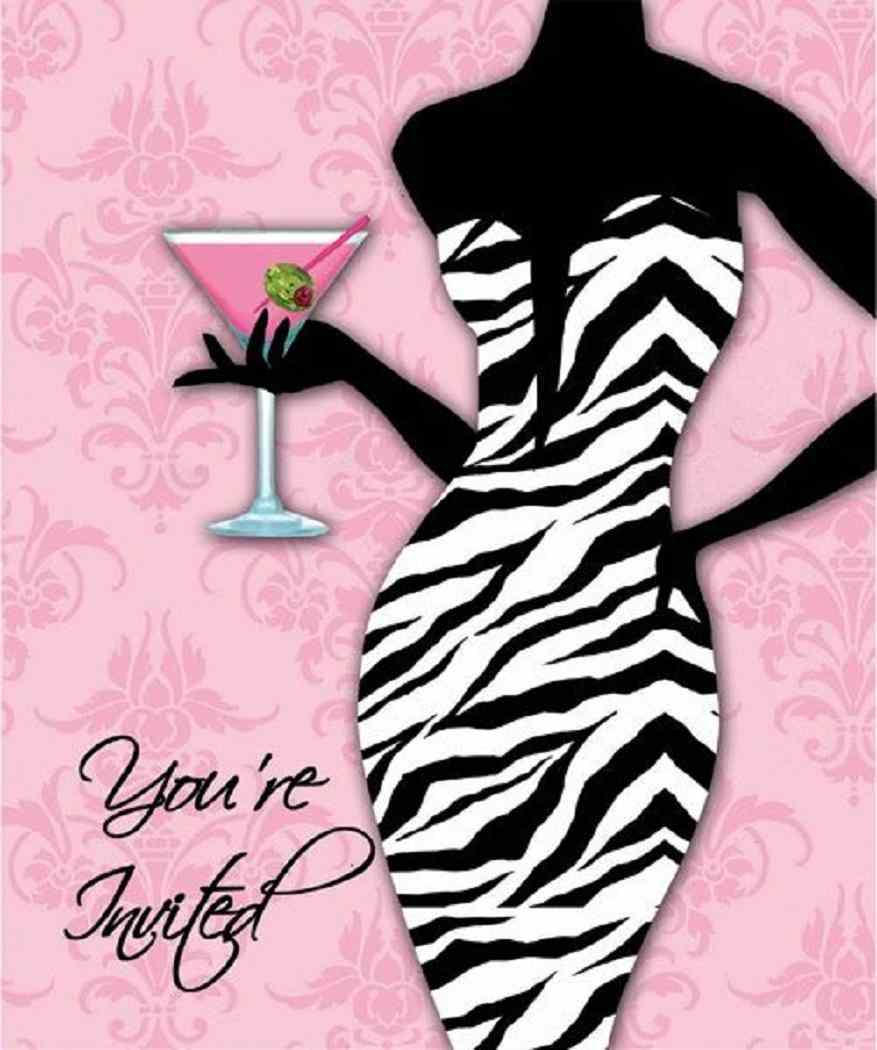 Primary image for Sassy Sweet Pink Zebra Wedding Bachelorette Party Invitations - Girls Night Out