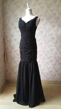 Sexy Black Open Back V Neck Mermaid Prom Dress Black Wedding Bridesmaid Dress image 2