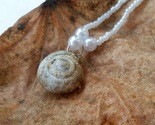 Holy Terra necklace: Natural white snail shell with white beadwork