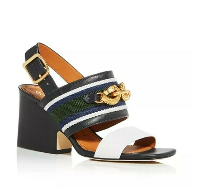 Primary image for NEW TORY BURCH JESSA PERFECT NAVY / IVORY BLOCK HEEL SANDALS Size US 7.5