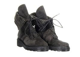 Stuart Weitzman Black Suede Yadastud Studded Combat Boots Booties Sz. 5 - $174.79