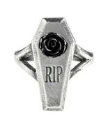 Alchemy Gothic RIP Black Rose Ring Casket Coffin Fine English Pewter R23... - $19.95