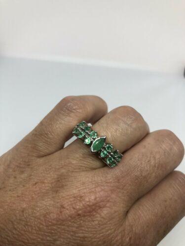 Vintage Original Grün Smaragd 925 Sterlingsilber Ring Size 10.5