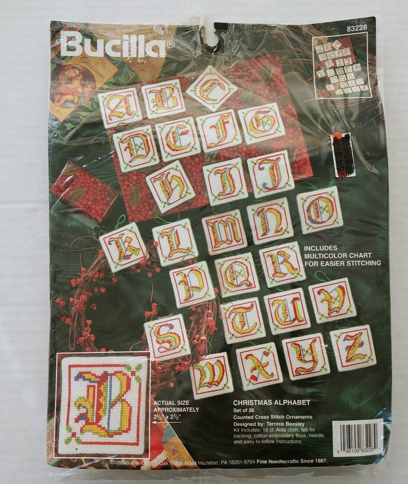 Primary image for Bucilla 83228 Cross Stitch Christmas Alphabet Ornament Kit Vtg Set of 26 New NIP