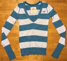 Hollister Women's Blue & Gray Striped Long Sleeve V-Neck Sweater - Size: XS - $14.84