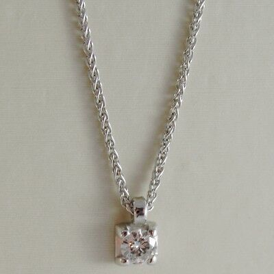 18K WHITE GOLD NECKLACE WITH DIAMOND 0.12 CARATS, EAR LINK CHAIN MADE IN ITALY