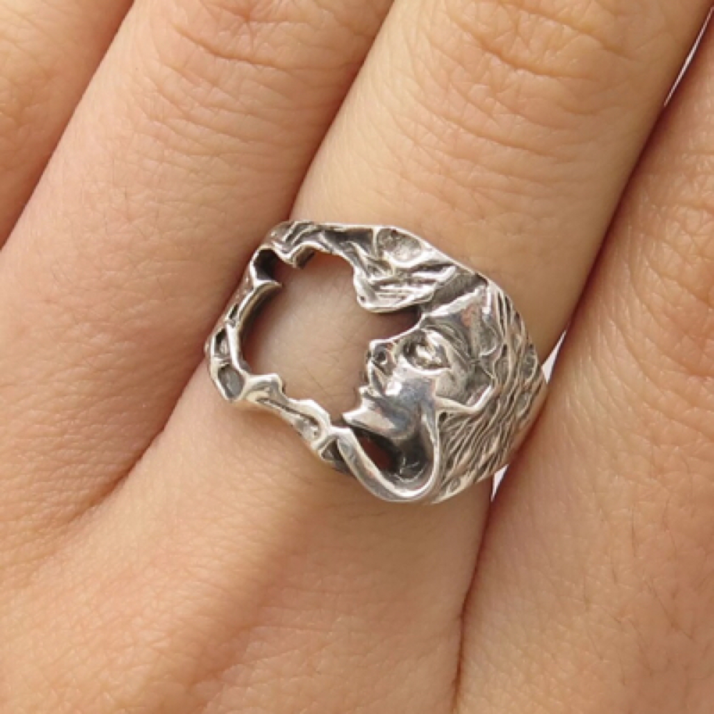 Vintage 925 Sterling Silver Victorian Lady Openwork Ring Size 6