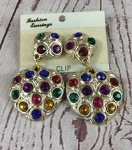 """Vintage Gold Tone Multi Color Stone Clip On Earrings 2 1/2"""" - $10.89"""
