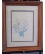 Original Art Water Color by E L Flower Floral Bouquet Framed 13 x 16 - $33.48