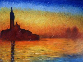 Claude Monet Oil Painting Dusk in Venice Hand-Painted on Canvas Museum Q... - $125.00+