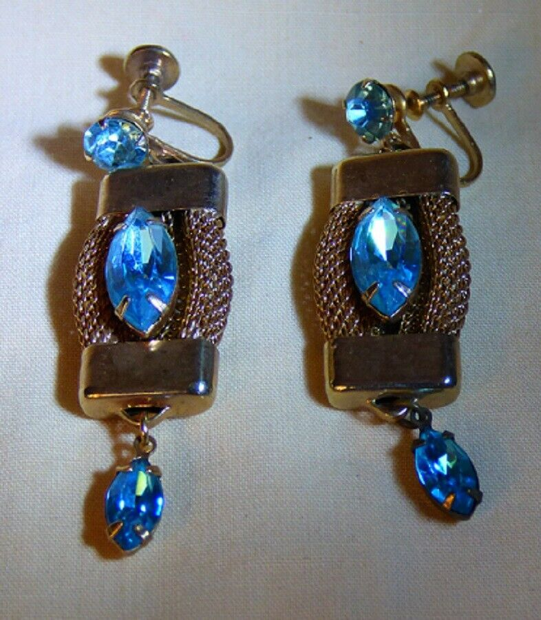Primary image for LOVELY Vintage 1930s-40s Hollywood Regency Style Faux Aquamarine Earrings