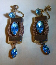 LOVELY Vintage 1930s-40s Hollywood Regency Style Faux Aquamarine Earrings - $45.00