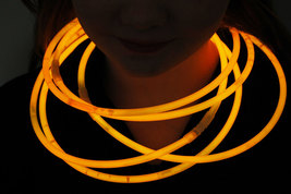 "50 22"" Premium Jumbo Orange Glow Stick Necklaces Preattached Connectors - $23.95"