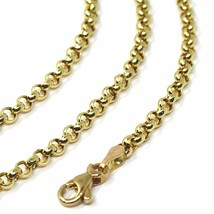 18K YELLOW GOLD ROLO CHAIN 2.5 MM, 16 INCHES, NECKLACE, CIRCLES, MADE IN ITALY image 2