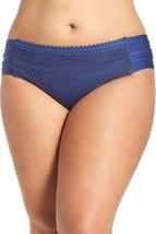 NEW BECCA Navy Crocheted Ruched Tab Sides Plus Size Bikini Bottom 2X 20-22 - $29.69