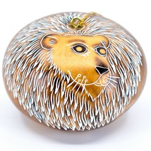 Handcrafted Carved Gourd Art Lion Big Cat Zoo Animal Ornament Made in Peru