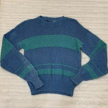 Vintage Woolrich Womens Blue Stripe Sweater Size Medium M Cotton Oversized - $18.99