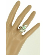 Vintage Mid Century Modern Sterling Silver Marquise Abalone Design Ring ... - $61.19