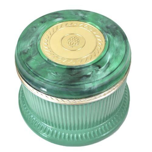 Vintage Avon Green Marbleized Lidded Jar/Trinket Box with Gold Embellishment - $18.66