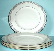 "Kate Spade New York McCormick Square 4 Dinner Plates Platinum Trim 10.75""  - $82.90"