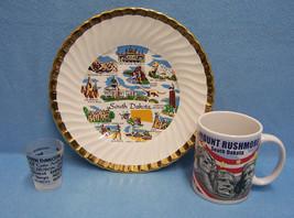 Lot of 3 Vintage South Dakota Souvenirs Plate Shot Glass and Mug - $17.81
