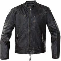 Cafe Racer Vintage Classic Distressed Black Motorcycle Real Leather Jacket image 1
