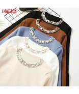 Tangada Autumn Winter Women Beaded Neck Sweater 2019 casaco feminino ele... - $22.20