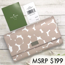 NEW Kate Spade Cyra Putnam Drive Splodge Dot Pink Leather Trifold Wallet... - $89.00