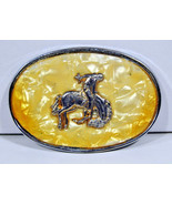 Belt Buckle Cowboy Bucking Bronco Faux Mother of Peril Silver Vintage - $19.95