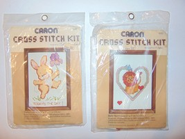 1982 Vintage Caron Cross Stitch Kit Lot Baby Heart Lion & Today's The Day - $9.87