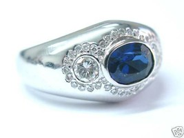 Fine Three Stone Designer Gem Sapphire & Diamond Jewelry White Gold Ring... - $1,831.50