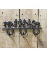 Cast Iron Cowboy Horse with 3 Horseshoe Coat Hooks Wall Mount - $12.86