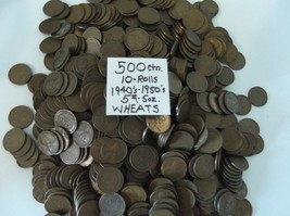 500-LINCOLN WHEATS-1940's / 1950's-10-ROLLS- *5# 5-ounces - $25.00