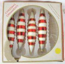 Vtg 4 Kurt Adler Teardrop Xmas Ornament Set White Red Gold Glitter West ... - $19.55