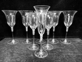 7 Piece Mixed Lot Flair Clear Mikasa Goblet Champagne Stem --Excellent C... - $42.93