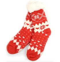Urban-Peacock Knitted Fleece Sherpa Slipper Socks-Red Snowflakes & Hearts - $10.95