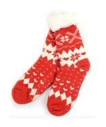 Urban-Peacock Knitted Fleece Sherpa Slipper Socks-Red Snowflakes & Hearts - $10.95