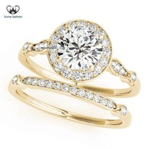 Bridal Engagement Ring Set 14k Yellow Gold Plated 925 Silver Round Cut Diamond - $81.99