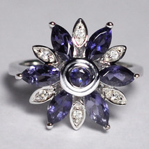 Natural Iolite Topaz Flower Cocktail Ring Womens 925 Sterling Silver 1.4... - $79.00