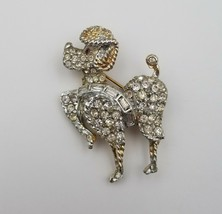 """Vintage Poodle Dog Rhinestone Pin / Brooch by Weiss Costume Jewelry 2"""" x... - $29.44"""