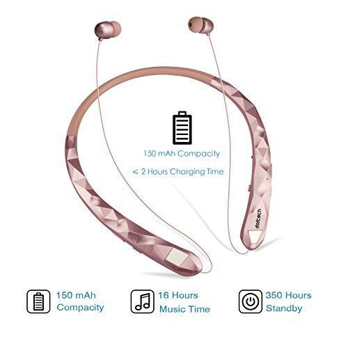 Bluetooth Headphones Sports Sweatproof Wireless Headphones Neckband Rose Gold ✔