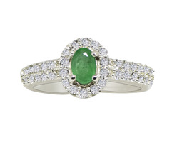 Antique Emerald & White Topaz Stone 925 Sterling Silver Ring Sz 5.5 SHRI... - $25.76