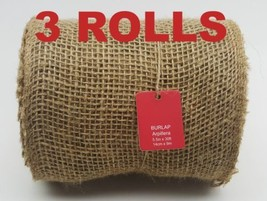 "3 ROLLS NATURAL JUTE BURLAP MESH RIBBON 5.5"" x 30' FEET MAKING WREATH BO... - $29.69"
