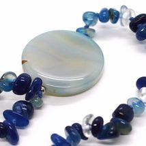 Collar Largo 90cm, Ágata Azul Bandas Disco Grande, Doble Filo image 5