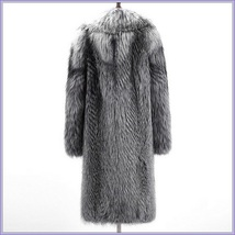 Wild Silver Gray Siberian Coyote Wolf Faux Fur Unisex Executive Long Coat Jacket image 4