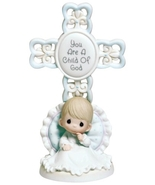 Precious Moments You Are A Child Of God Bisque Porcelain Cross - $30.99