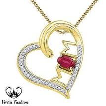 Heart Shape MOM Pendants W/ Chain Oval Shape Red Garnet 18k Gold Over 92... - £46.72 GBP